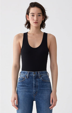 Agolde classic, ribbed tank bodysuit cut soft jersey black | Pipe and Row