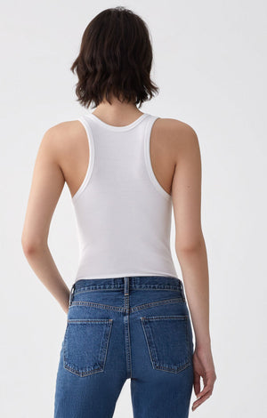 Agolde classic, ribbed tank top bodysuit cut soft white jersey | Pipe and Row