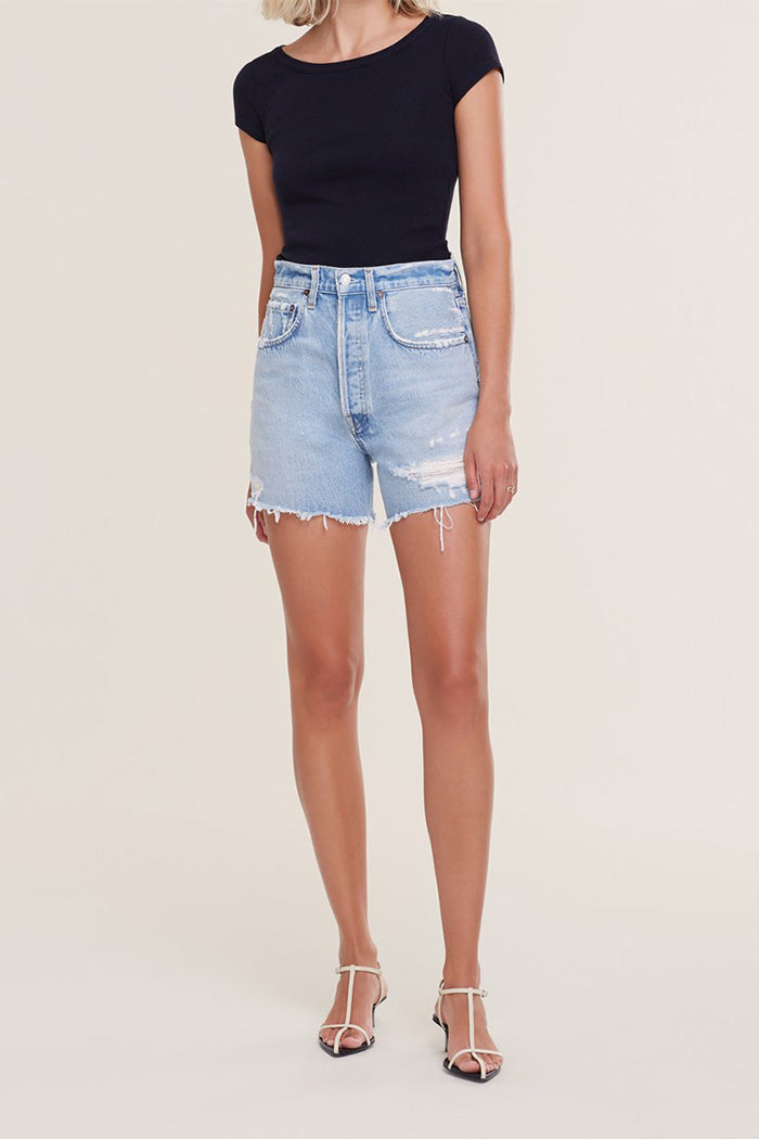 Agolde Riley high rise shorts groove blue indigo | Pipe and Row boutique
