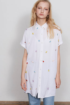 ROSE BUD BUTTON-UP SHIRT DRESS