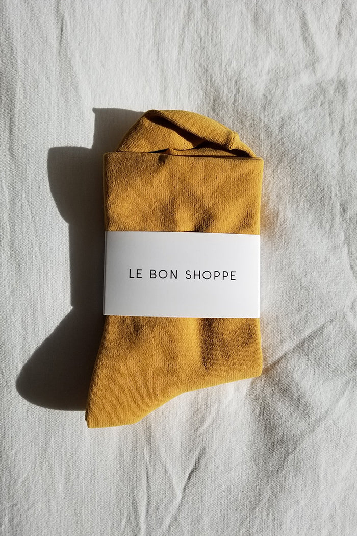 Le Bon Shoppe Pump socks smooth simple sleek saffron mustard | pipe and Row