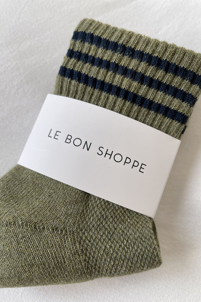 Le Bon Shoppe Girlfriend ribbed socks heather sage green  | pipe and row
