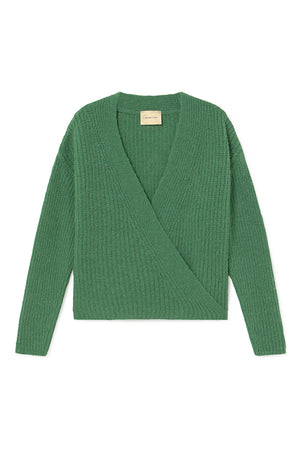 Paloma Wool soft wool criss cross cardigan Sanz sweater kelly forest green | pipe and row