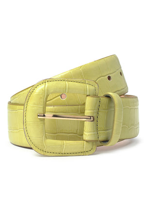 Paloma Wool sustainable Scott leather belt croc embossed pastel lime green | Pipe and row boutique