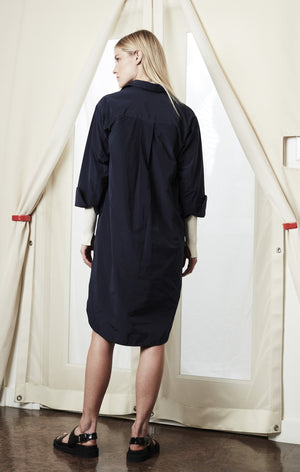 shirt dress navy spring achro | pipe and row