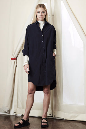 shirt dress navy achro | pipe and row
