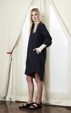 button up shirt dress navy achro | pipe and row