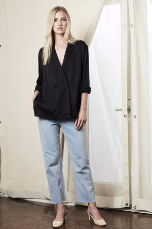 side slit blazer black achro | pipe and row