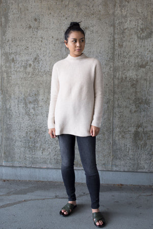 side slit whole garment mock neck pullover oatmeal mother denim | pipe and row boutique