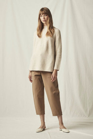 side slit whole garment mock neck pullover oatmeal | pipe and row boutique