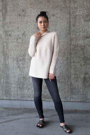 side slit whole garment mock neck pullover oatmeal | pipe and row boutique seattle