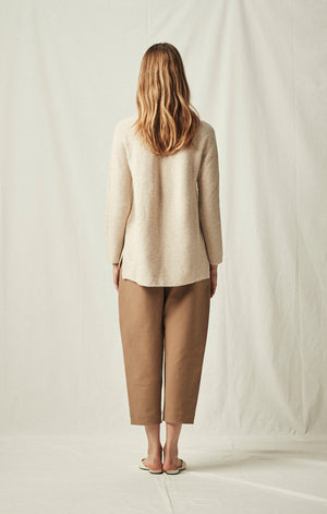 side slit whole garment pullover back oatmeal | pipe and row boutique