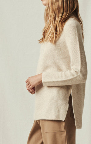 side slit whole garment pullover oatmeal | pipe and row boutique