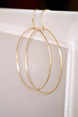 Simple Hammered Hoop Earrings in 14k gold fill | Pipe and Row Seattle