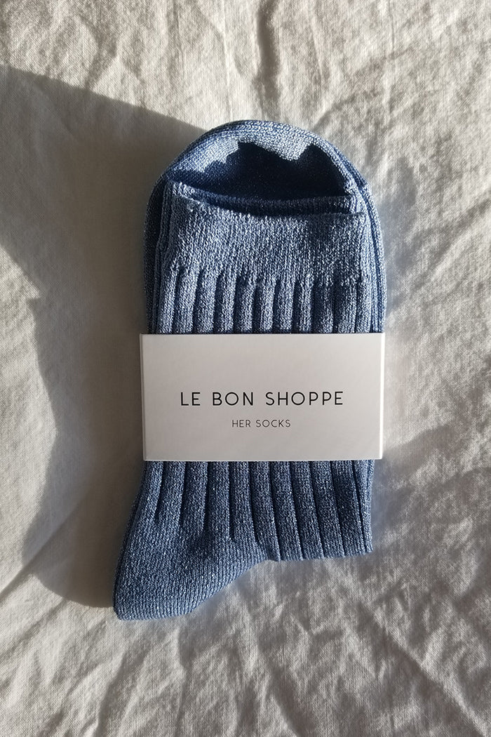 Le Bon Shoppe Her socks glittery sky blue knit rib socks | pipe and row boutique Seattle