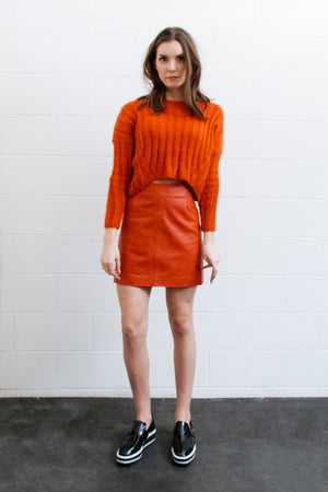 ribbed crop top knit orange | pipe and row