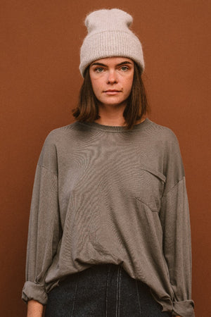 PIPE AND ROW STAPLES SMITH ANGORA BEANIE WINTER HAT light grey