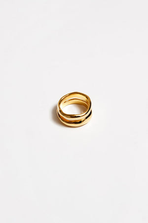 Wolf Circus Sophie double band textured ring gold | pipe and row boutique seattle