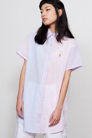 Sorbet Vertical Stripe Embroidered Ice cream cone Lazy Oaf button up | pipe and row