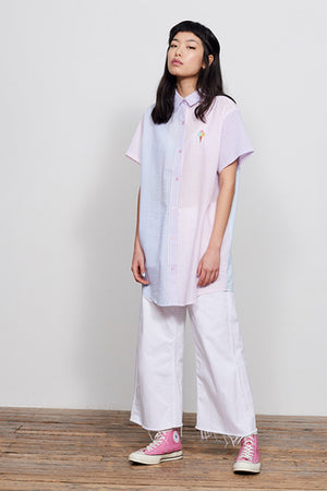 Sorbet Vertical Stripe Embroidered pastel Ice cream cone Lazy Oaf button up | pipe and row