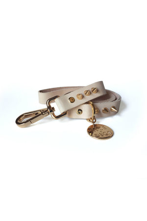 spike leather dog leash gold nice digs | pipe and row
