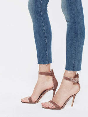 stunner ankle fray hem graffiti girl mother denim | pipe and row