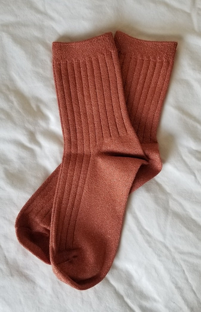 Le Bon Shoppe sunset glitter Her socks perfect height knit rib socks | Pipe and Row