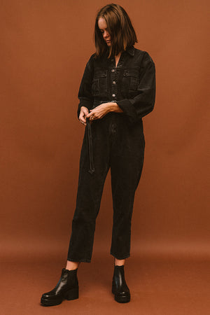 Pipe and Row Agolde Tatum Denim Jumpsuit Shade Spring 2020