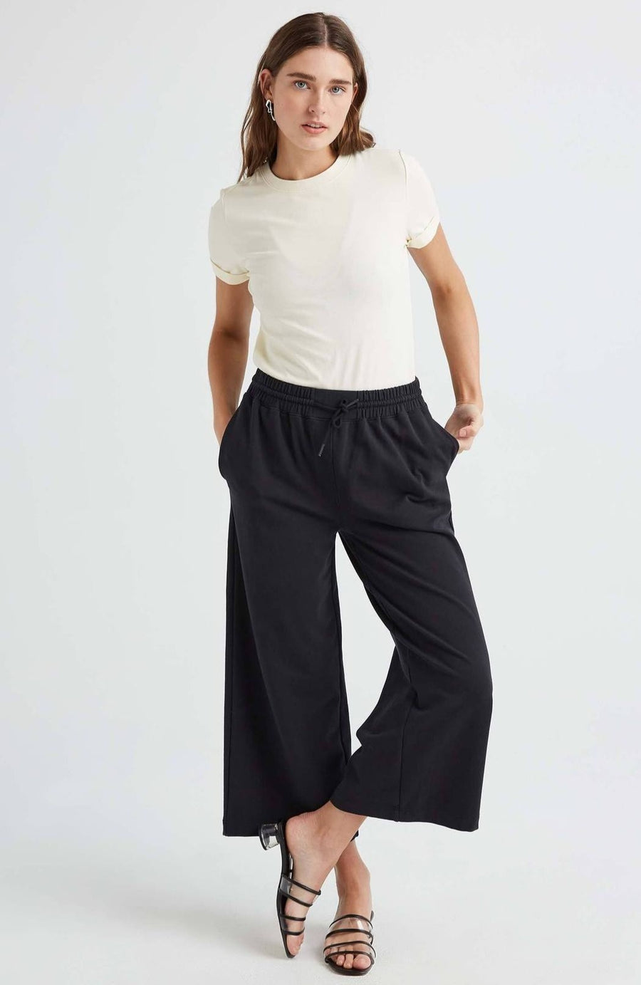 TERRY WIDE LEG PANT BLACK