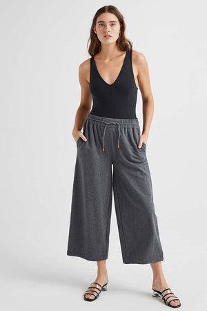 Richer Poorer terry wide leg crop pant heather charcoal grey | Pipe and Row