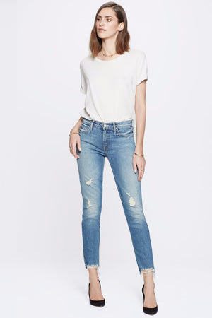 the flirt fray cold feet distressed mother denim | pipe and row