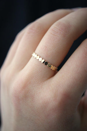 thick beaded stacking ring 14k gold fill hannah naomi | pipe and row