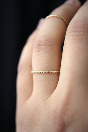 handmade thick twisted stacking ring gold rose gold silver hannah naomi | pipe and row