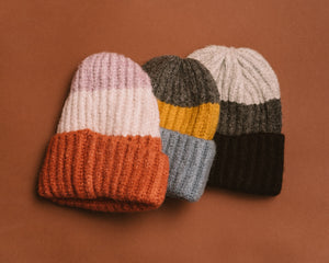 Three stripe super soft beanie color block best seller PIPE AND ROW