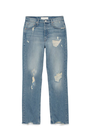 tomcat quite contrary distressed light wash denim mother | pipe and row