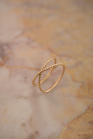 best selling statement stacking ring Twisted X ring 14k gold fill handmade | Pipe and Row