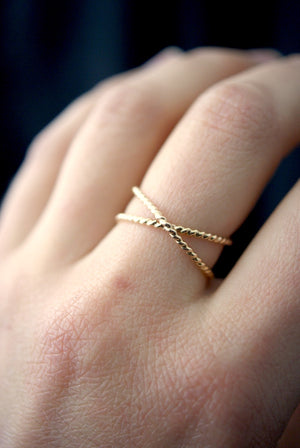 best selling statement stacking ring Twisted X ring 14k gold | Pipe and Row