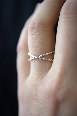 best selling statement stacking ring dainty Twisted X ring sterling silver handmade | Pipe and Row