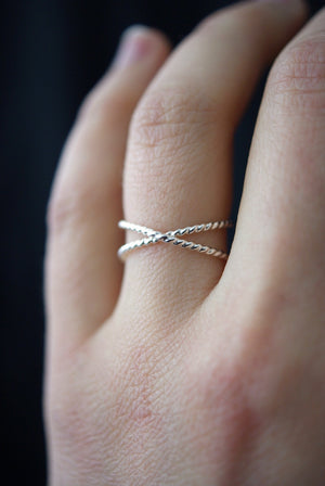 best selling statement stacking ring Twisted X ring sterling silver handmade | Pipe and Row