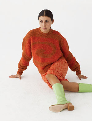 Paloma Wool Twister sweater intense orange wool alpaca | pipe and row