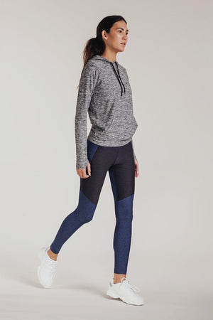 TWO-TONE WARMUP LEGGINGS NAVY CHARCOAL