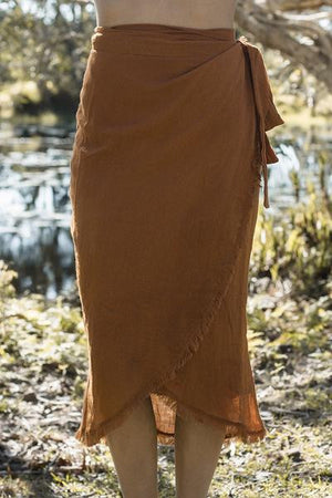 Rue Stiic Venice wrap midi skirt Terracotta Linen raw hem | PIPE AND ROW
