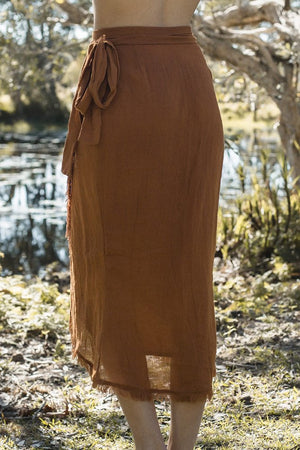 Rue Stiic Venice wrap midi skirt Terracotta Linen | PIPE AND ROW womens
