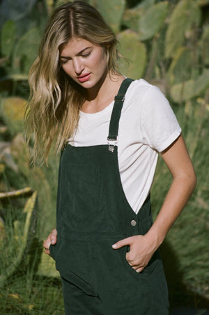 Vienna corduroy overall forest green rue stiic | pipe and row