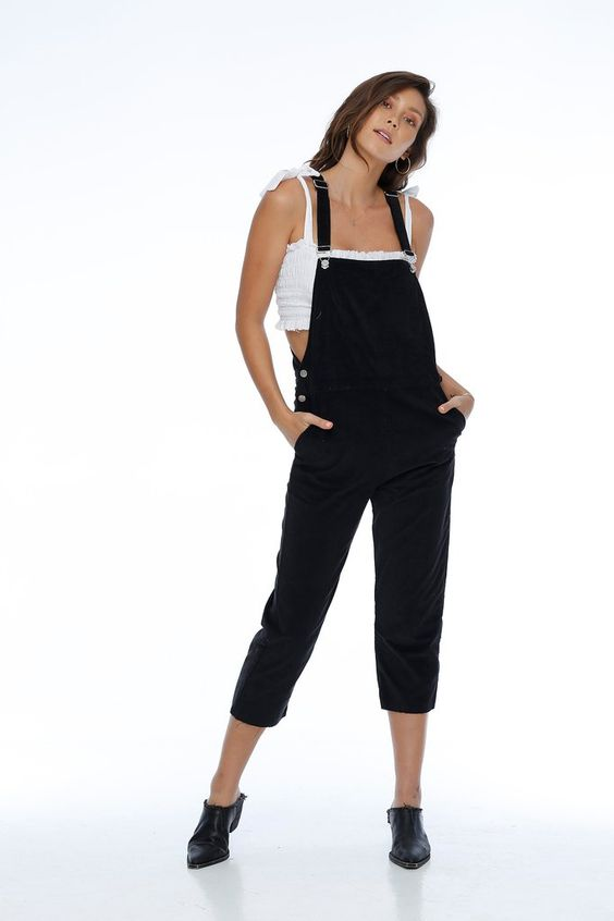Vienna corduroy overall black rue stiic | pipe and row