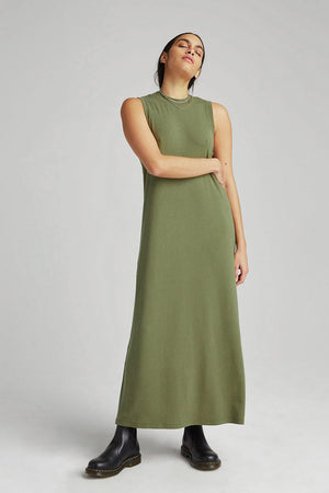 Richer Poorer vintage column rib maxi dress olive army green | pipe and row