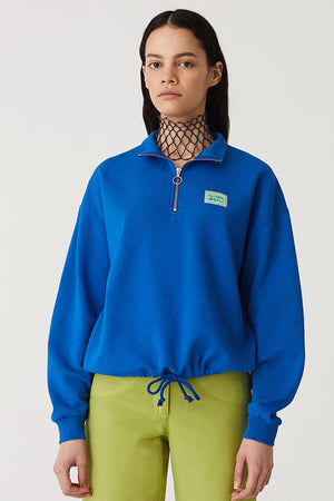 Paloma Wool Wellness half zip sweater blue organic sustainable | pipe and row