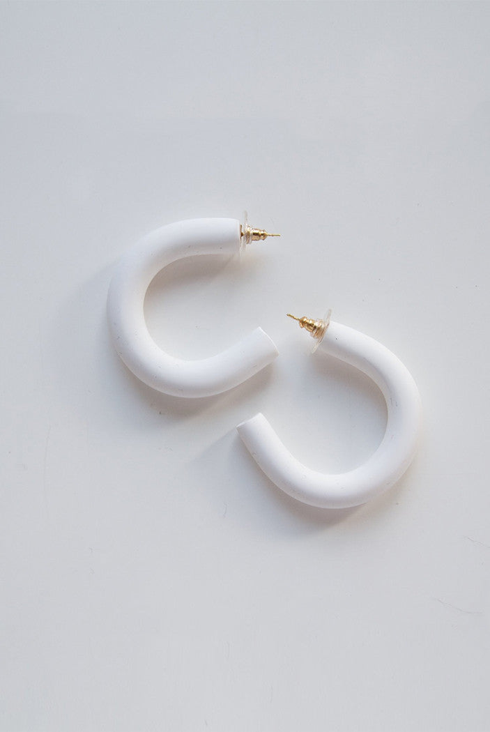 CIRCLET HOOP EARRINGS white clay modern Sea + Pattern | Pipe and Row Seattle