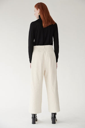 Mijeong Park wide leg high waist corduroy trousers off white | Pipe and Row