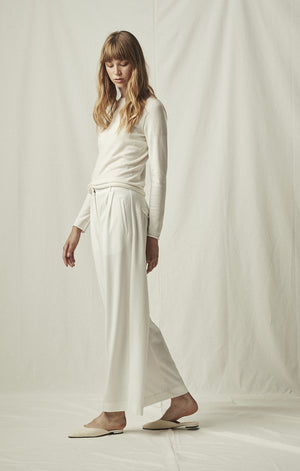 tailored wide leg trousers ivory mijeong park | pipe and row